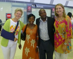 Hilary, Jesca, Richard, and Jane at the arrivals hall Perth Airport